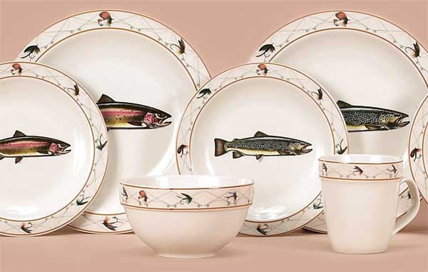 4-7\  salad plates 4 generous size 24 oz. soup bowls and 4-10 ounce mugs. All sets are both dishwasher and microwafe safe. & Dinnerware 4species Trout - 16pcs Fishingtackle24 - Angelbedarf ...