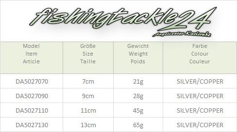 DAM Effzett Blinker Heintz 11cm Silver//Copper