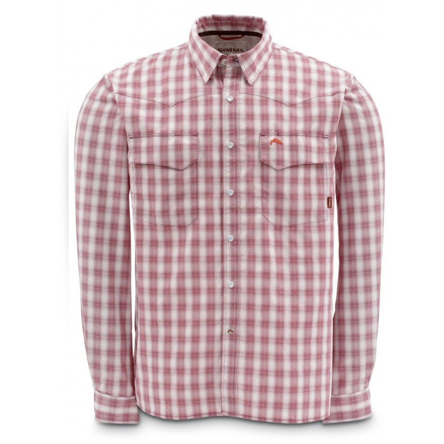 Simms Big Sky LS Shirt Wine Plaid