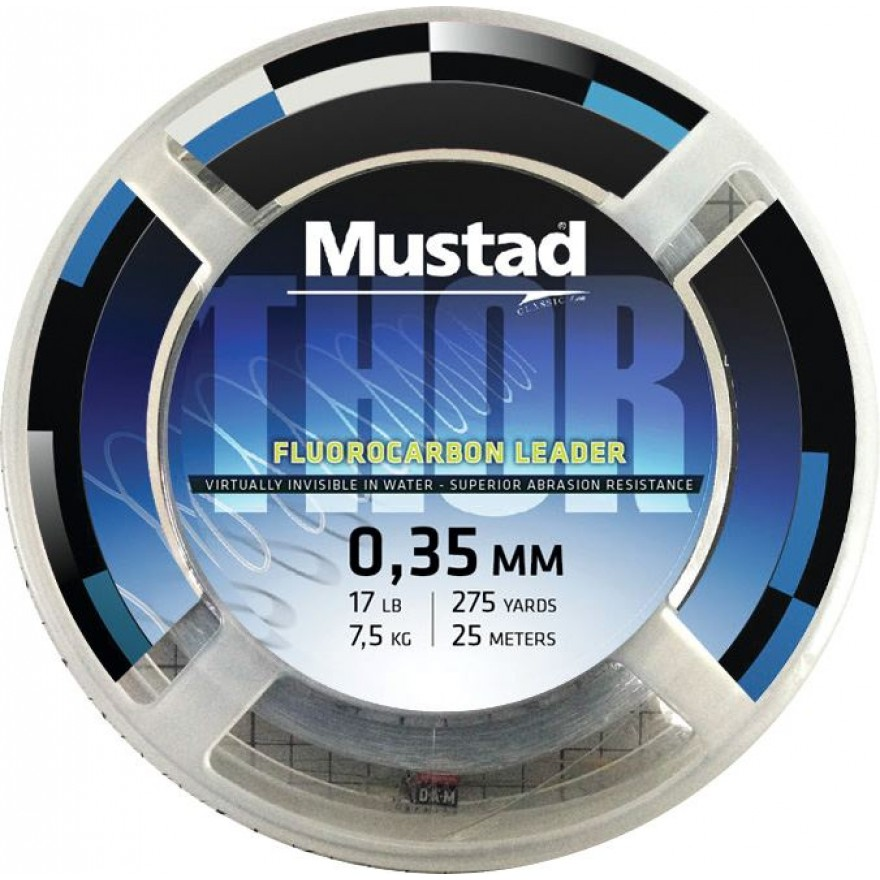 MUSTAD Thor Fluoro Carbon Leader 25m, clear