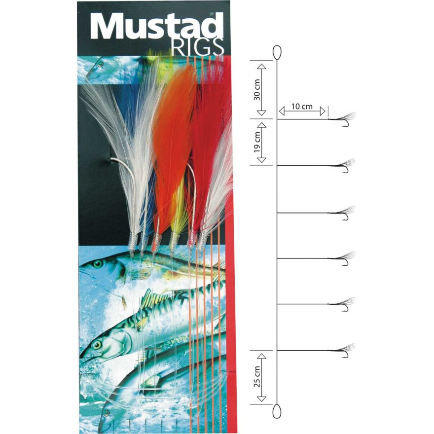 Mustad Col. Mackerel Feather Trace 3/0