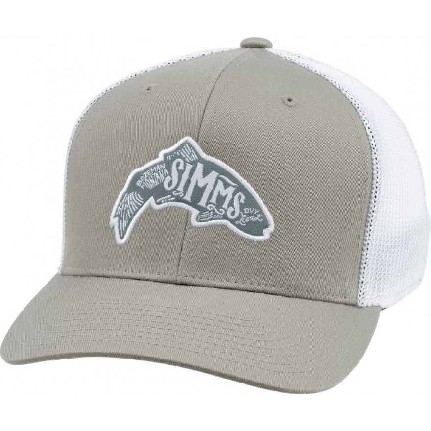 Simms Flexfit Trucker Cap Woodblock Trout Coffee