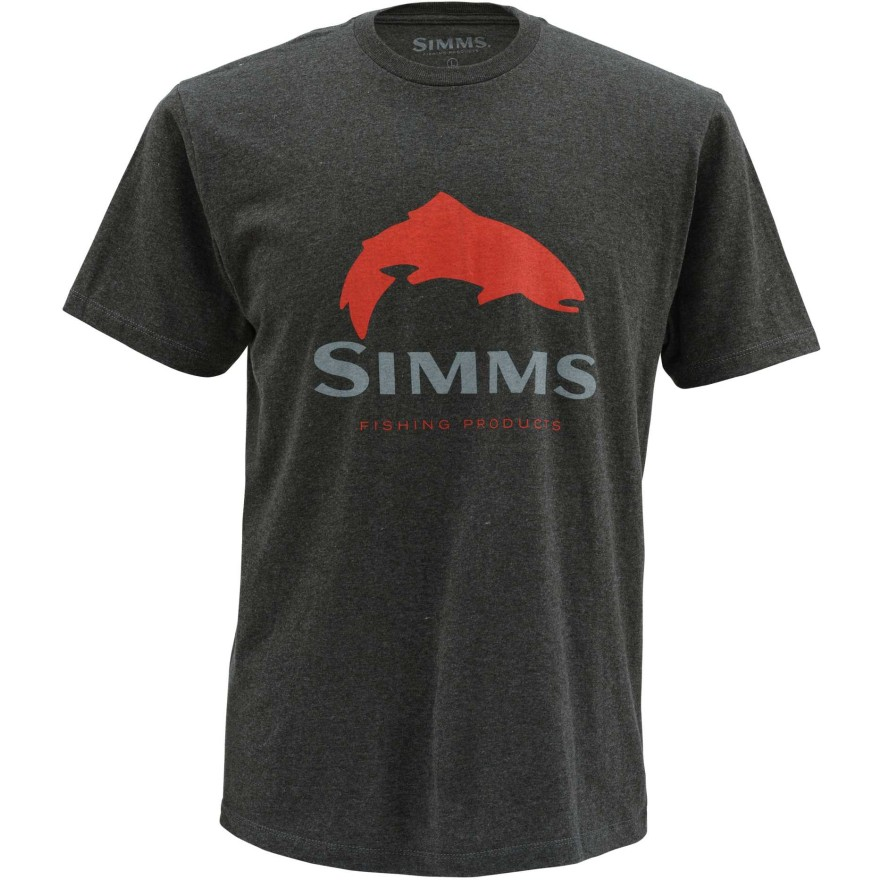 Simms Trout Logo Charcoal Heather