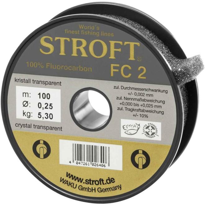STROFT FC2 50 m Fluorocarbon Angelschnur 0.09 mm bis 0.60 mm Kristall transp.