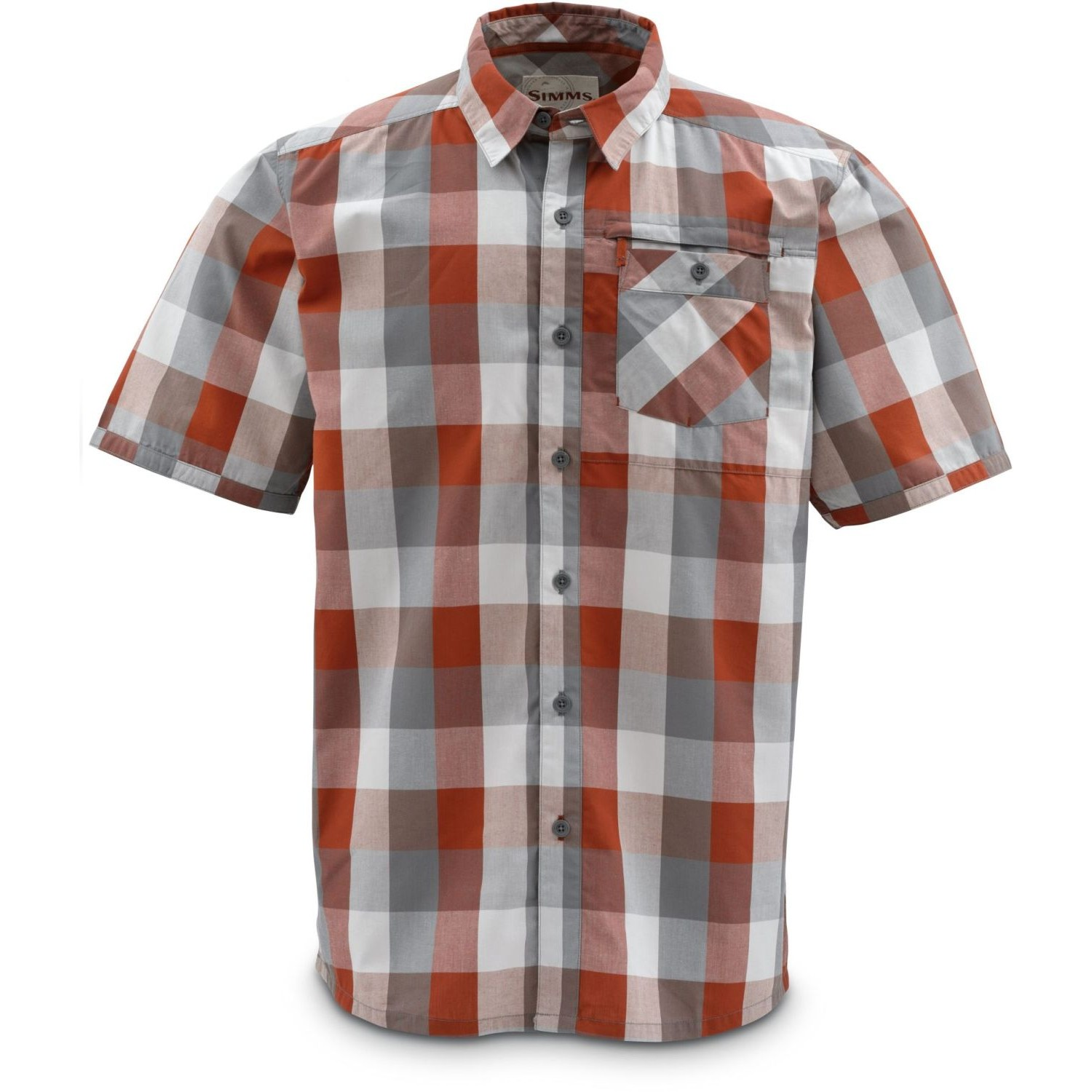 Simms Espirito Shirt Orange Block Plaid
