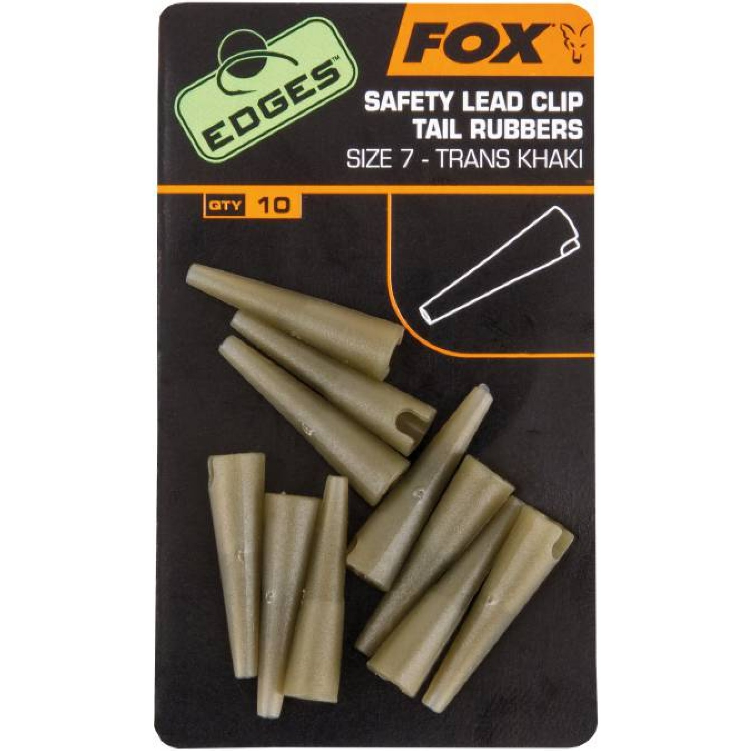 Fox Edges Lead Clip Tail Rubbers, Size 7