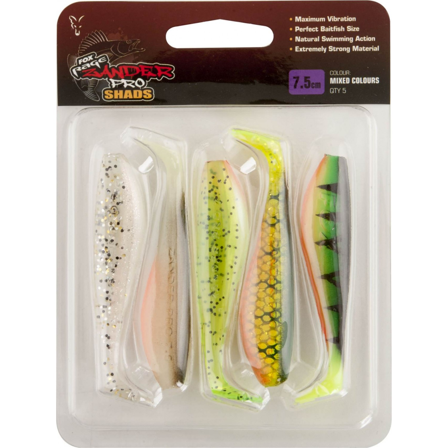 Fox Rage Zander Pro Shad Mixed Colours 7.5cm